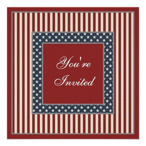 Patriotic Stars & Stripes July 4th Party Invites