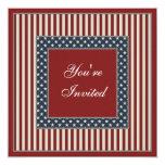 "Patriotic Stars & Stripes July 4th Party Invites 5.25"" Square Invitation Card"