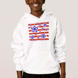 Patriotic Stars & Stripes Kids Hooded Sweatshirt