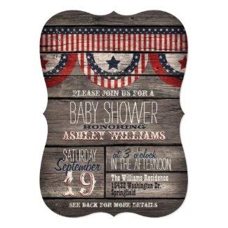 Patriotic Stars & Stripes Rustic Wood Baby Shower Card