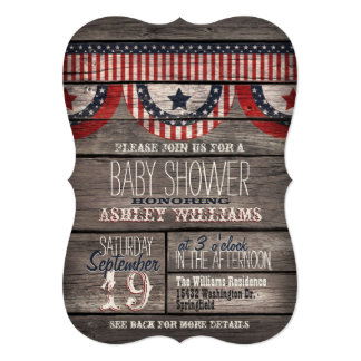 Patriotic Stars & Stripes Rustic Wood Baby Shower Card