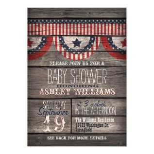Patriotic Stars & Stripes, Rustic Wood Baby Shower Card at Zazzle