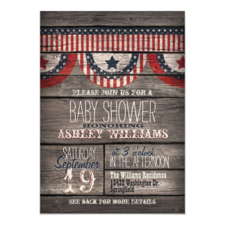 Patriotic Stars & Stripes, Rustic Wood Baby Shower Card