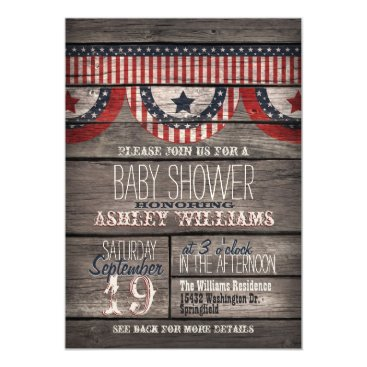 Card_Stop Patriotic Stars & Stripes, Rustic Wood Baby Shower Card