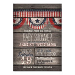 Patriotic Stars & Stripes, Rustic Wood Baby Shower Invitation