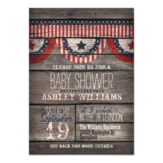 Patriotic Stars & Stripes, Rustic Wood Baby Shower 5x7 Paper Invitation Card