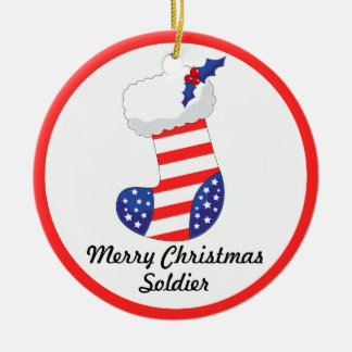 Patriotic Stocking - Merry Christmas Soldier Ceramic Ornament