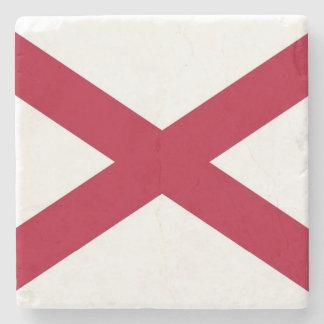 Patriotic stone coaster with Flag of Alabama