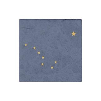 Patriotic stone magnet with Flag of Alaska