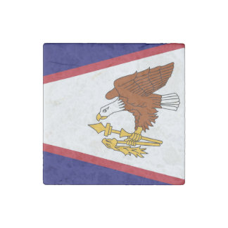 Patriotic stone magnet with Flag of American Samoa