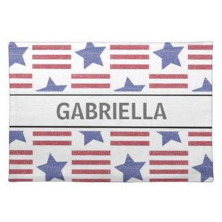 Patriotic Stripes Abstract Cloth Placemat