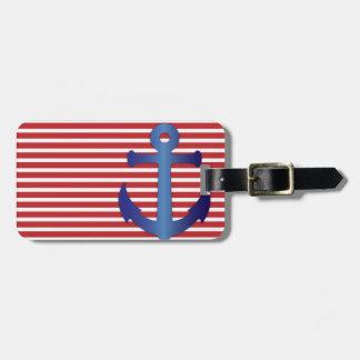 Patriotic Stripes and Anchor Custom Luggage Tag