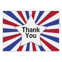 Patriotic Sunburst Star Thank You Card