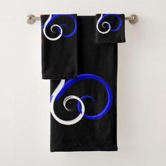 Patriotic Swirl Butterfly Bath Towel Set