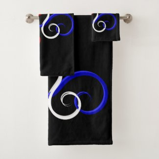 Patriotic Swirl Butterfly Bath Towel Set