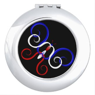 Patriotic Swirl Butterfly Compact Mirror