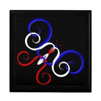 Patriotic Swirl Butterfly Gift Box