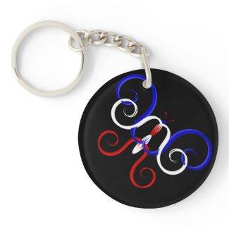 Patriotic Swirl Butterfly Keychain