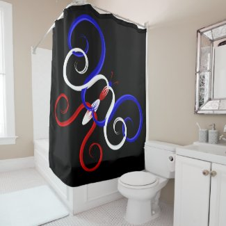 Patriotic Swirl Butterfly Shower Curtain