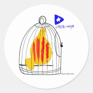 Patriotic Symbol, Catalonia freedom dove in cage Classic Round Sticker
