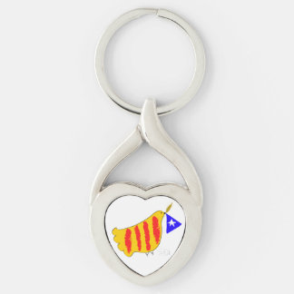 Patriotic Symbol, Catalonia freedom dove. Silver-Colored Heart-Shaped Metal Keychain