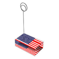 Patriotic table card holder with American flag