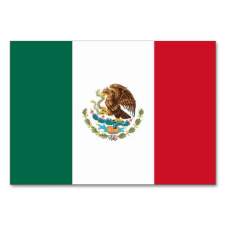 Patriotic table card with Flag of Mexico