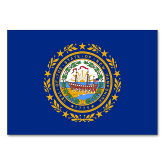 Patriotic table card with Flag of New Hampshire