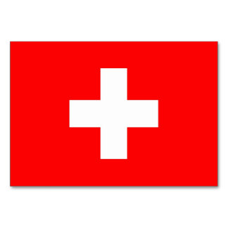 Patriotic table card with Flag of Switzerland