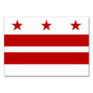 Patriotic table card with Flag of Washington DC