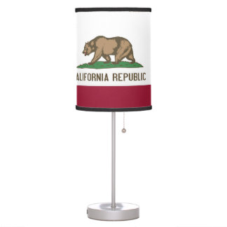 Patriotic table lamp with Flag of California