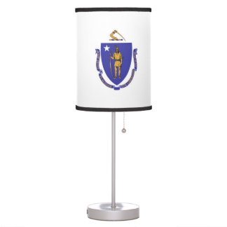 Patriotic table lamp with Flag of Massachusetts