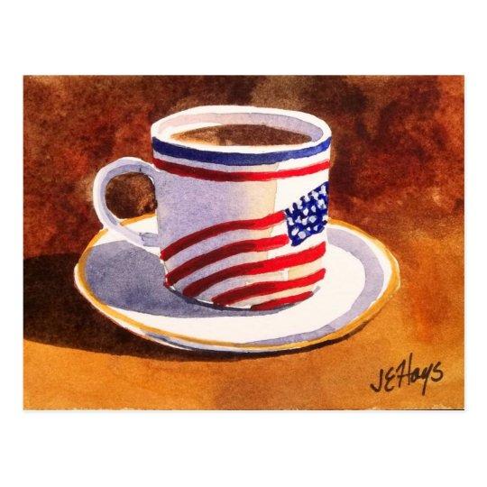 Patriotic Teacup Stars & Stripes Postcard
