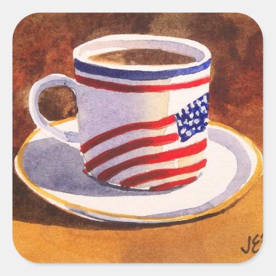 Patriotic Teacup Stars & Stripes Square Sticker