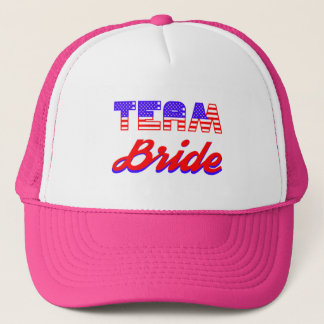 patriotic team bride bridal pink hat us flag