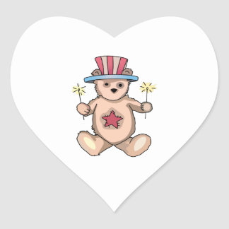 Patriotic Teddy Bear Heart Stickers