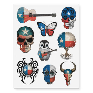 Patriotic Texas Flags Collection Temporary Tattoos