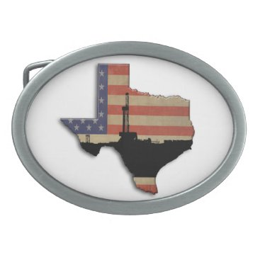 USA Themed Patriotic Texas Oil Drilling Rig Belt Buckle
