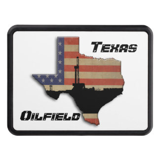 Patriotic Texas Oil Drilling Rig Trailer Hitch Cover