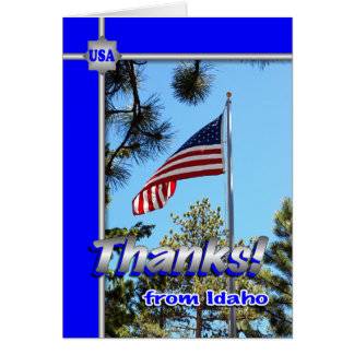 Patriotic Thanks for Troops from Idaho note card