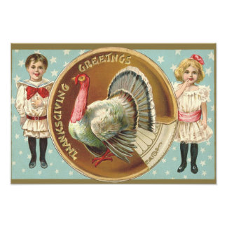Patriotic Thanksgiving Turkey Children Stars Photo Print