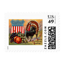 Patriotic Thanksgiving Turkey Fruit Postage