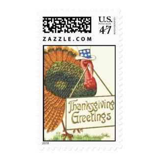 Patriotic Thanksgiving Turkey Postage Stamp