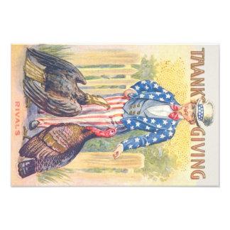 Patriotic Thanksgiving Turkey Uncle Sam Bald Eagle Photo Print