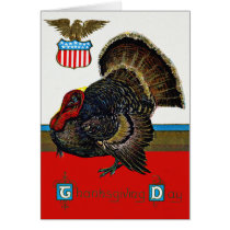 Patriotic Thanksgiving Turkey US Shield Eagle Card