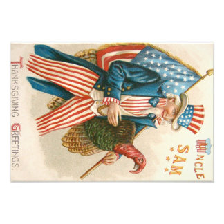 Patriotic Thanksgiving Uncle Sam Turkey US Flag Photo Print