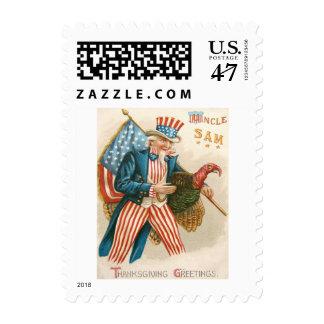 Patriotic Thanksgiving Uncle Sam Turkey US Flag Postage