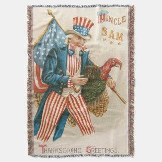 Patriotic Thanksgiving Uncle Sam Turkey US Flag Throw