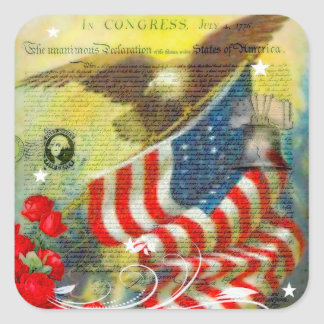 Patriotic theme square sticker
