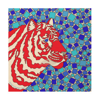 Patriotic Tiger Red White And Blue Stripes Big Cat Wood Wall Art